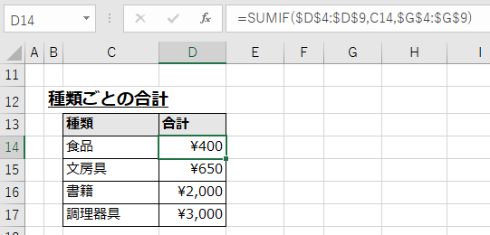 特定の文字列に一致するデータを合計する例