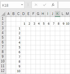 ROW関数とCOLUMN関数の使用例