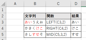 LEFT/MID/RIGHT関数の結果
