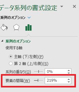 要素の間隔を0%に変更