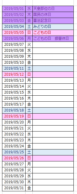 優先度変更された5月のカレンダー