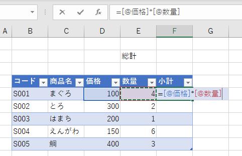 テーブルに構造化参照で小計の数式を作成