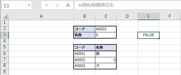 ISNUMBER関数でFALSE。文字列として認識されている