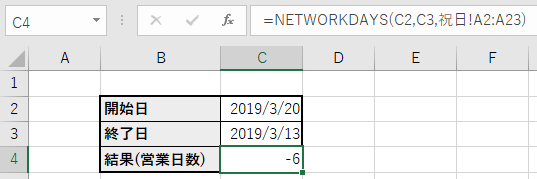 NETWORKDAYS関数使用サンプル 通常ケース(開始日>終了日)