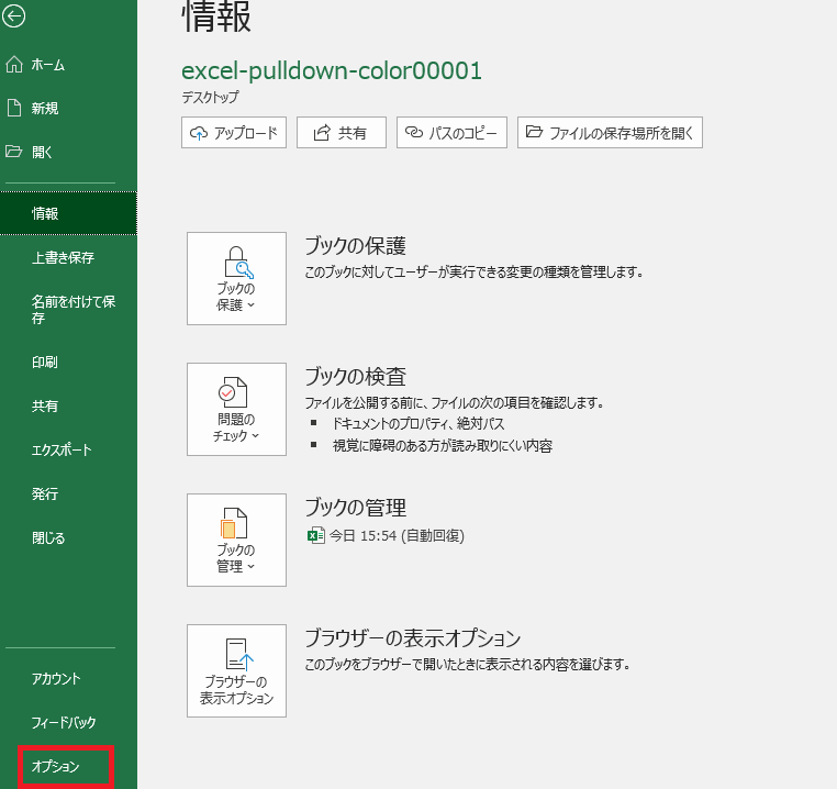 Excelホームより、詳細オプションを起動