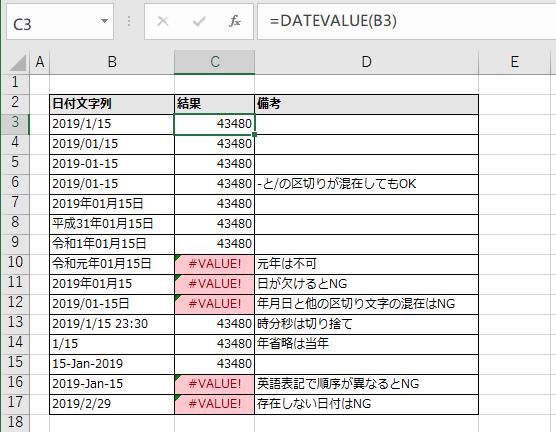 DATEVALUE関数の実行例。正常ケース、形式混在ケース、形式不正ケースなど