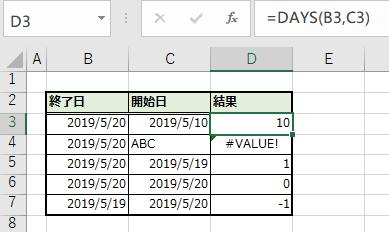 DAYS関数の引数と結果の一覧