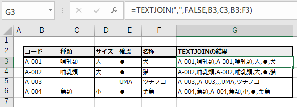 テキストを複数指定した例