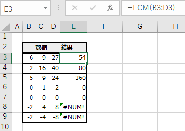 LCM関数の実行例(セル範囲)