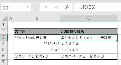 JIS関数の実行例