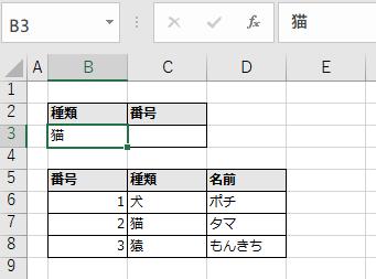 検索キーの左側に取得したい値があるためVLOOKUPで取得できない例