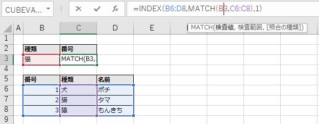 INDEX関数とMATCH関数の使用例。セル範囲の色分け表示