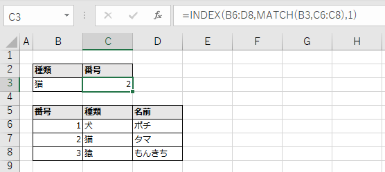 INDEX関数とMATCH関数の使用例。実行結果