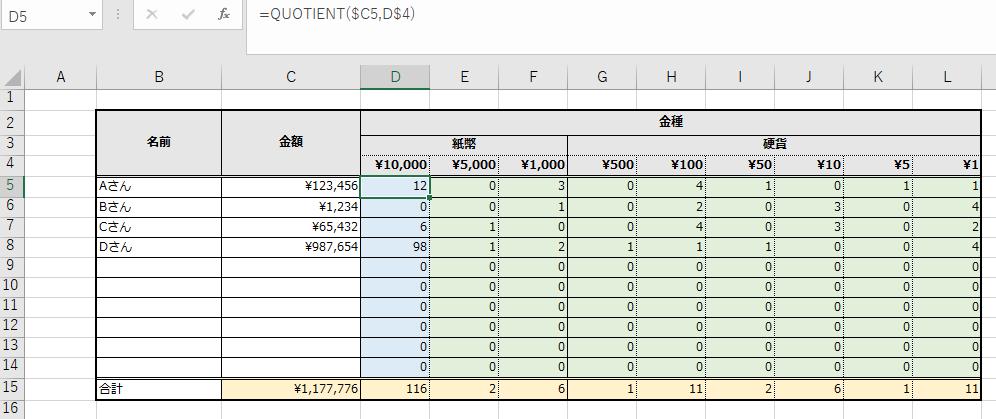 金種表。一万円札の枚数計算