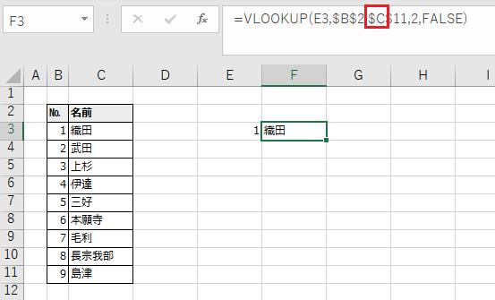 表の範囲を広く修正した例