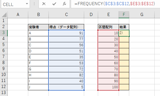 関数を入力。データ配列と区間配列は絶対参照で。