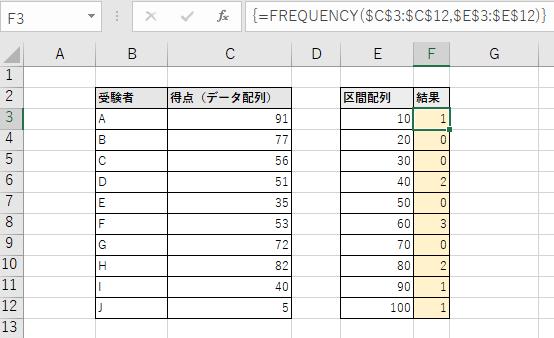 [Ctrl]と[Shift]を押しながら[Enter]を押下し配列数式に変換