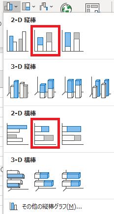 2-Dの縦棒と横棒かどちらかを選択して挿入