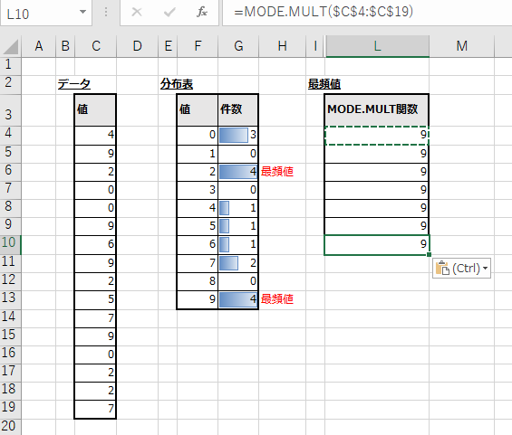 MODE.MULT関数を縦方向に数式コピーした結果