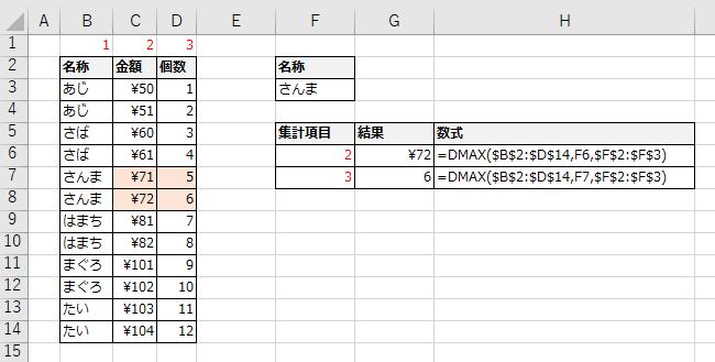 集計項目に列番号を使用する例