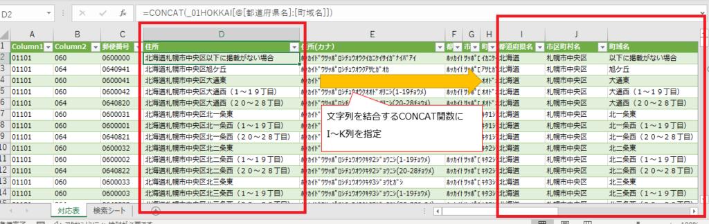 CONCAT関数で都道府県名、市区町村名、町域名を結合した状態の数式解説(キャプチャ)