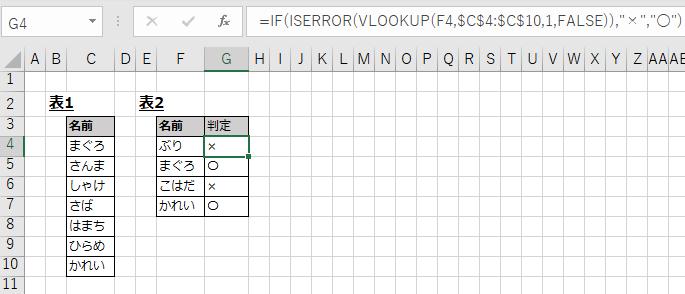 VLOOKUP関数で表2の名前が表1に「あれば〇」「なければ×」を表示する例
