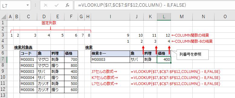 COLUMN関数を使用しVLOOKUP関数をコピーしたキャプチャ