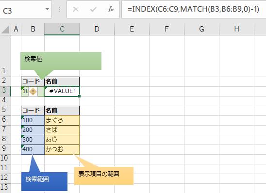 検索値に一致するものがなく#VALUEエラーとなるキャプチャ(INDEX関数とMATCH関数)