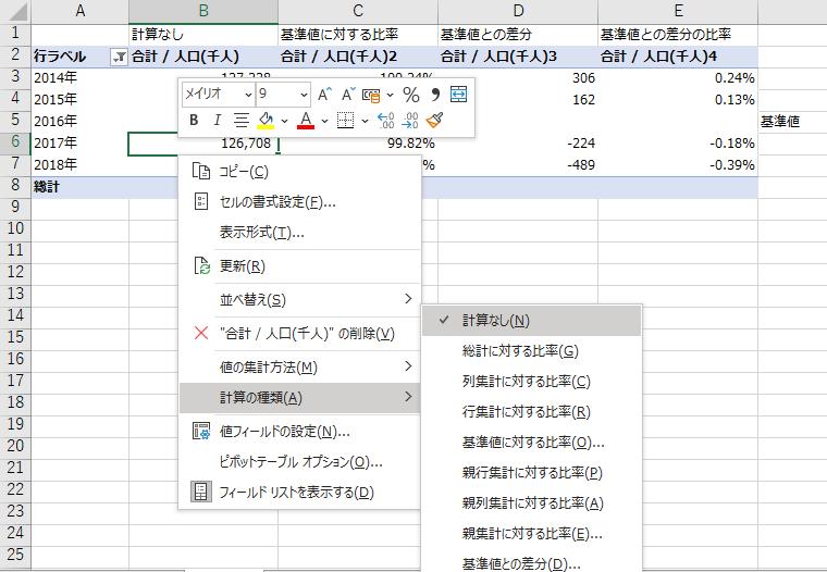 ピボットテーブルの右クリックメニューの「計算の種類」より任意の計算方法を選択するキャプチャ
