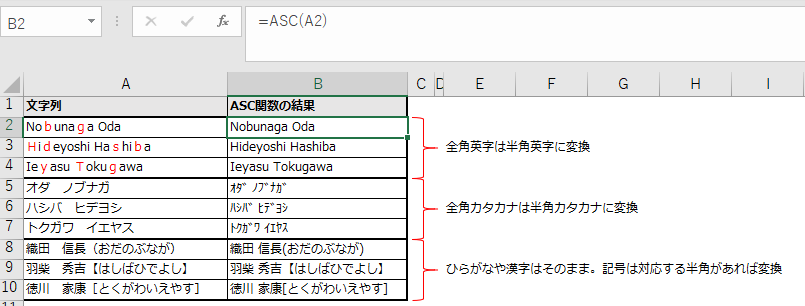 ASC関数で半角に統一した例