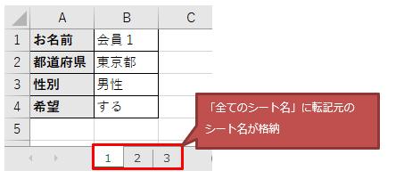 変数「全てのシート名」の中に転記元Excelのシート名が格納される図解