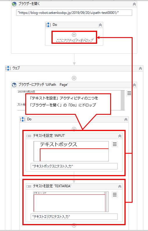「テキストの設定」を「ブラウザーを開く」にドロップする図解