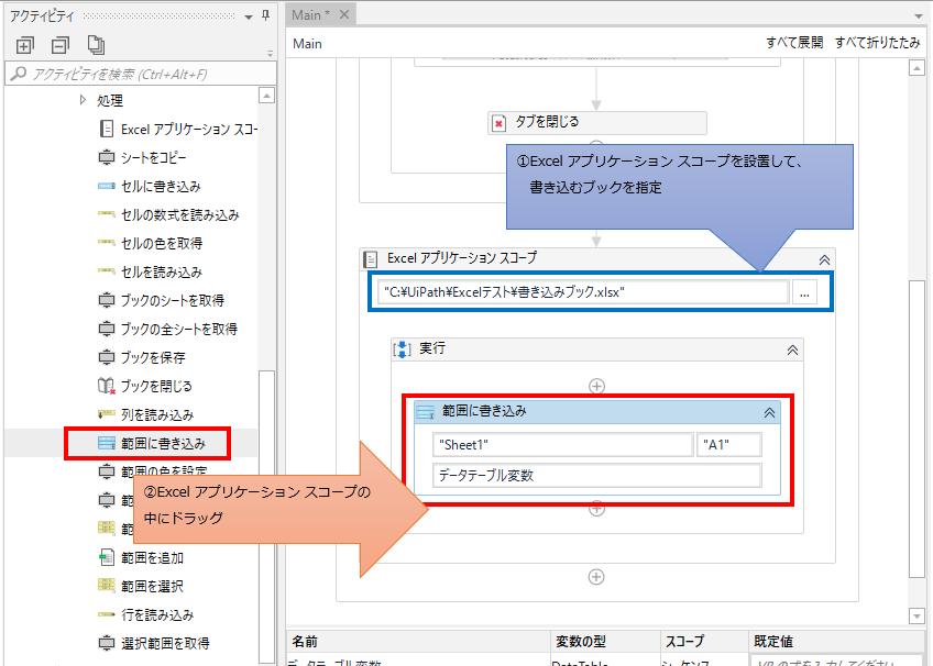 「Excel アプリケーション スコープ」の中に「範囲に書き込み」をドラッグする図解