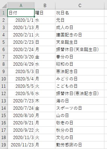 指定シートにDataTable変数の中身(祝日一覧)が転記されたキャプチャ