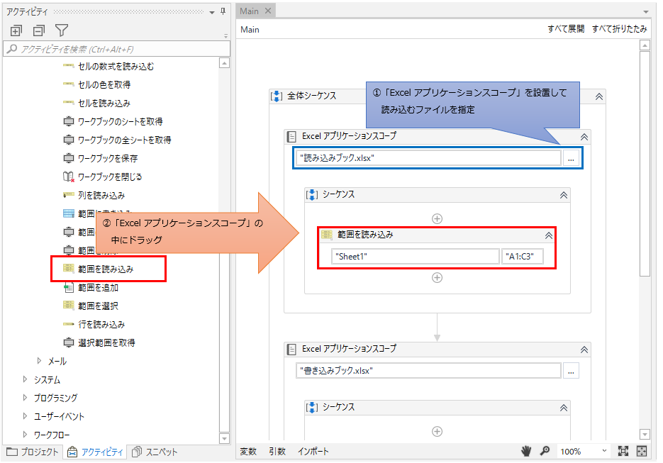「Excel アプリケーション スコープ」の中に「範囲を読み込み」をドラッグする図解