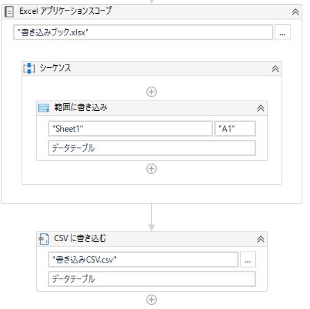 データテーブル変数をCSVとExcelに書き込むサンプル
