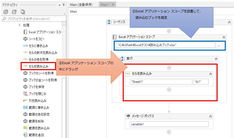 「Excel アプリケーション スコープ」の中に「セルに読み込み」をドラッグする図解