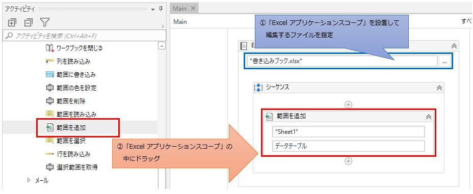 「Excel アプリケーション スコープ」の中に「範囲を追加」をドラッグする図解