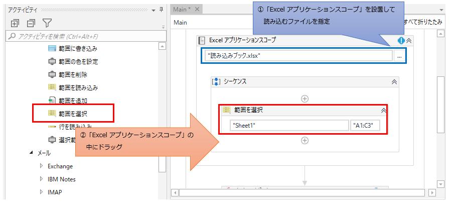「Excel アプリケーション スコープ」の中に「範囲を選択」をドラッグする図解