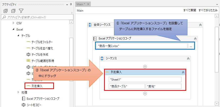 「Excel アプリケーション スコープ」の中に「列を挿入」をドラッグする図解