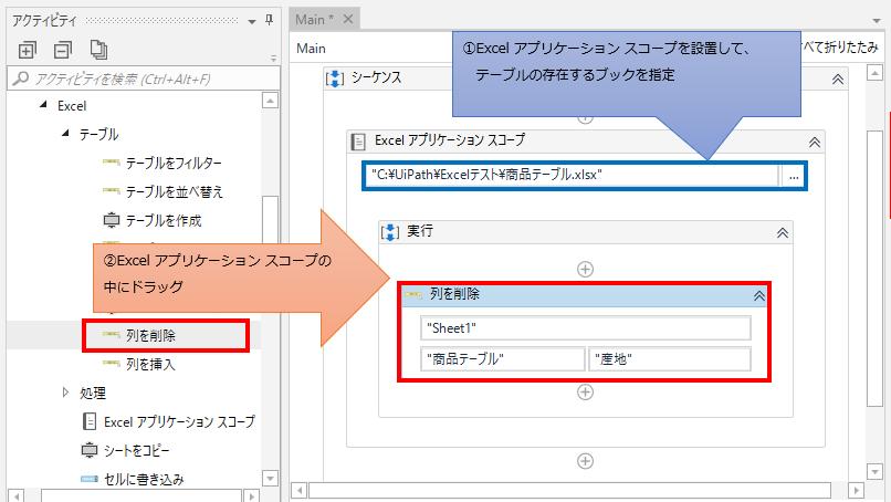 「Excel アプリケーション スコープ」の中に「列を削除」をドラッグする図解