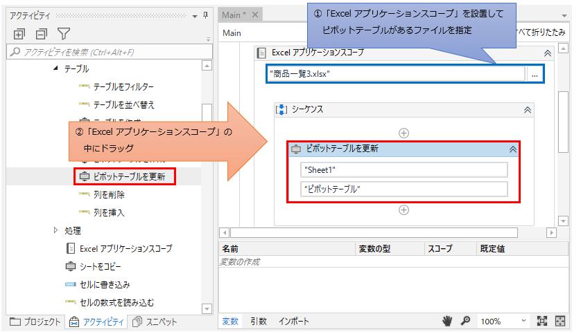 「Excel アプリケーション スコープ」の中に「ピボットテーブルを更新」をドラッグする図解