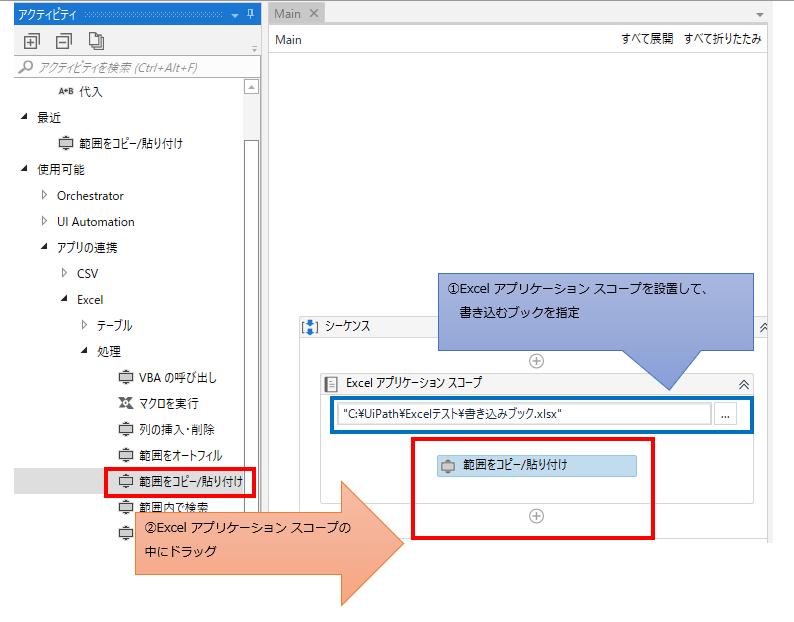 「Excel アプリケーション スコープ」の中に「範囲をコピー・貼り付け」をドラッグする図解