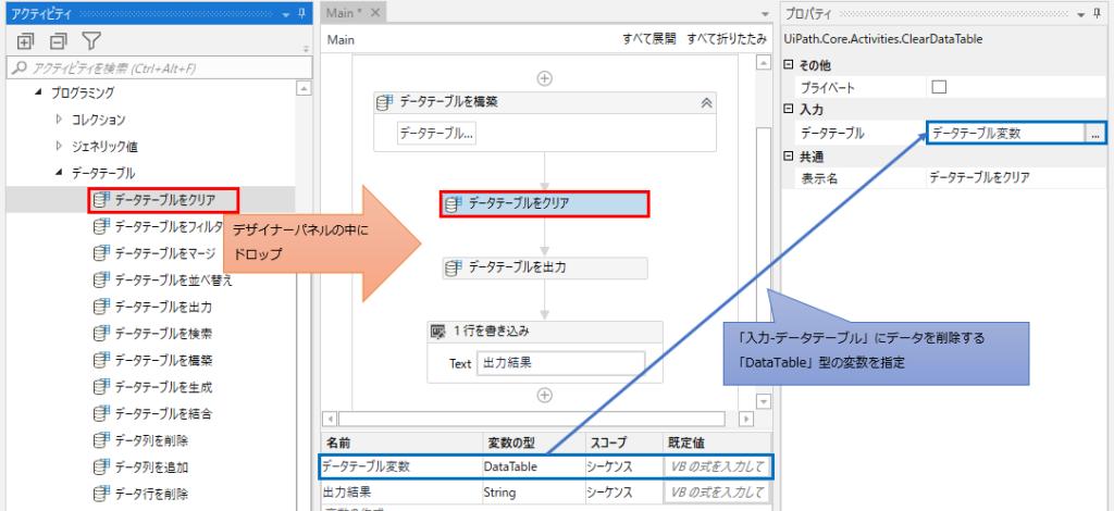 「プログラミング」、「データテーブル」より「データテーブルをクリア」をデザイナーパネルの中にドロップ。入力-データテーブルプロパティにデータを削除するDataTable型変数を指定