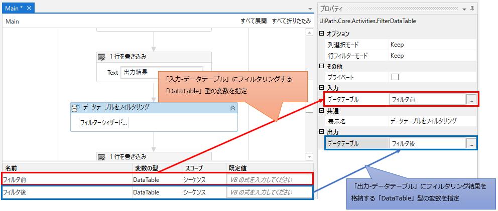 DataTable型の変数を用意し入力(フィルタリング前)と出力プロパティ(フィルタリング後)に設定