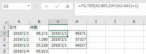 DAY関数を併用すれば毎月の特定日の指定する例