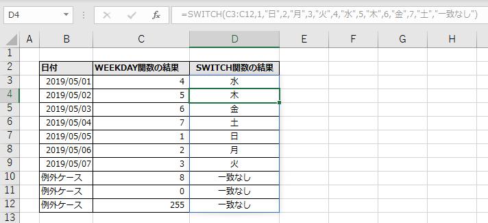 D3に指定したSWITCH関数がD12まで自動拡大