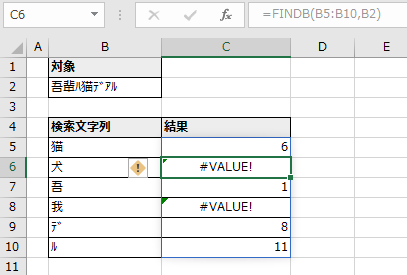 C5に指定したFIND関数がC11まで自動拡大