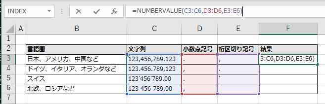 スピルでNUMBERVALUE関数を記述する例(F3セル)