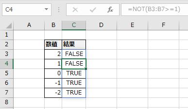C3に指定したNOT関数がC4まで自動拡大